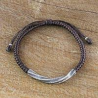 Silver wristband bracelet, 'Karen Twist in Brown' - Karen Silver Wristband Bracelet in Brown from Thailand
