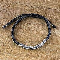 Silver wristband bracelet, 'Karen Twist in Black' - Karen Silver Wristband Bracelet in Black from Thailand