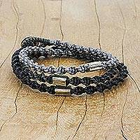 Silver beaded wrap bracelet, 'Midnight Hour' - Karen Silver Braided Wrap Bracelet from Thailand