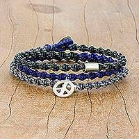 Silver charm wrap bracelet, 'Peaceful Hour' - Karen Silver Peace Braided Wrap Bracelet from Thailand