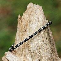 Silver beaded bracelet, 'Hill Tribe Fashion' - 950 Karen Silver Beaded Bracelet from Thailand