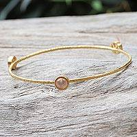 Gold plated rose quartz bangle bracelet, 'Orbit of Beauty' - Artisan Crafted 18k Gold Plated Bangle with Rose Quartz