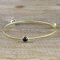 Gold plated iolite bangle bracelet, 'Orbit of Beauty' - 18k Gold Plated Thai Bangle Bracelet with Natural Iolite