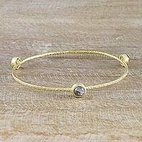 Gold plated labradorite bangle bracelet, 'Orbit of Beauty' - 18k Gold Plated Handcrafted Labradorite Bangle Bracelet