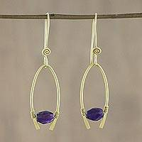 Gold plated amethyst dangle earrings, 'Enchanted Arches' - 18k Gold Plated Amethyst Arch Dangle Earrings from Thailand