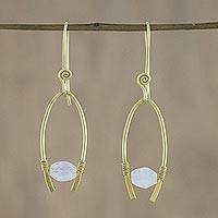 Gold plated rainbow moonstone dangle earrings, 'Enchanted Arches'