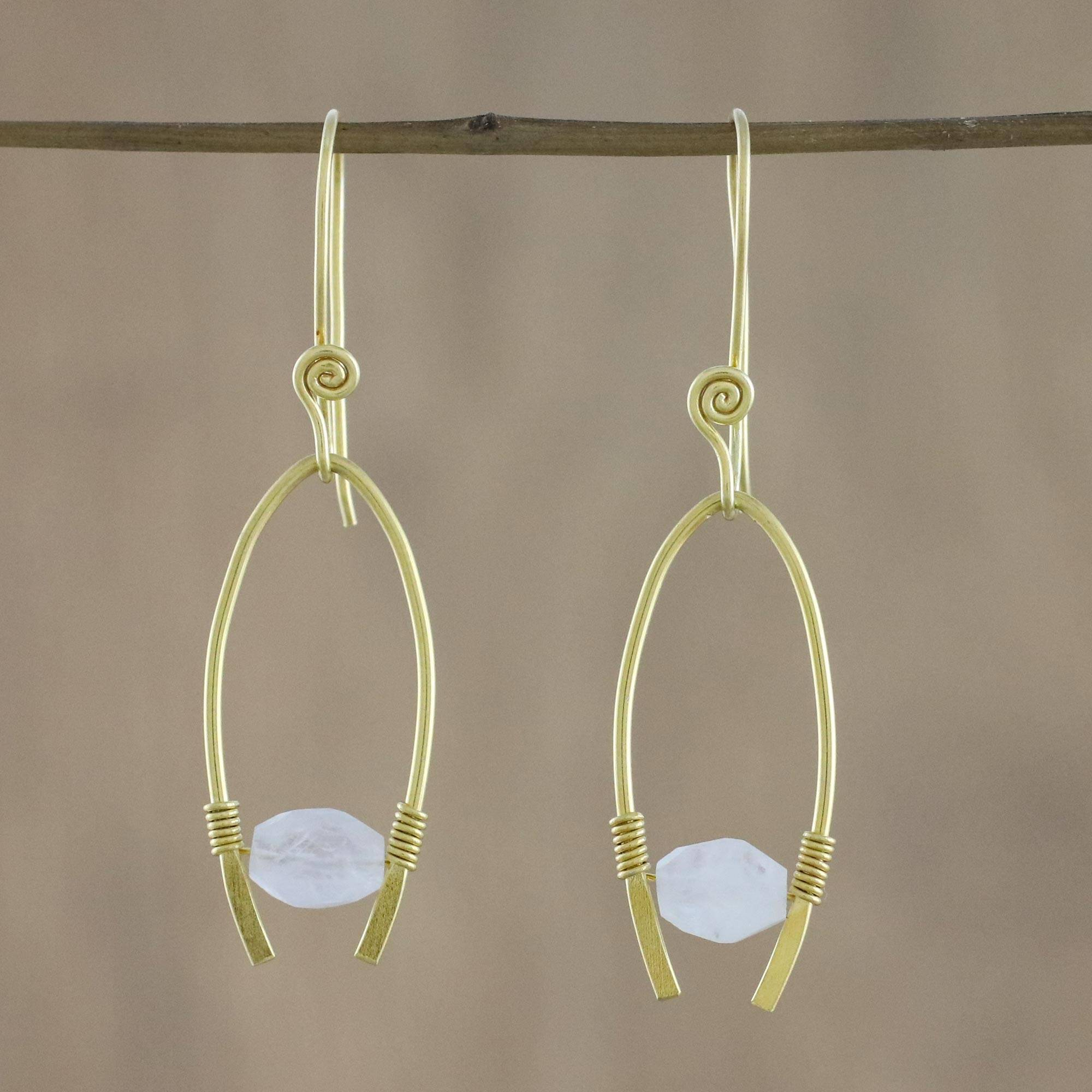 18k Gold plated 925 sterling silver rainbow moonstone dangle earrings