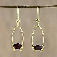 Gold plated garnet dangle earrings, 'Enchanted Arches'