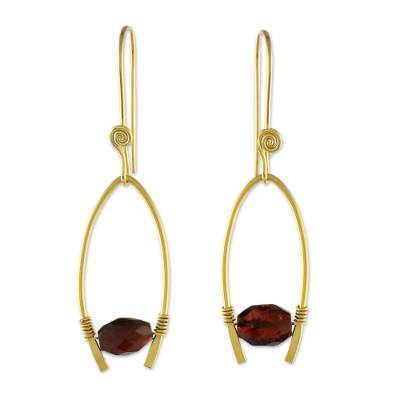 Gold plated garnet dangle earrings, 'Enchanted Arches' - Gold Plated Garnet Arch Dangle Earrings from Thailand