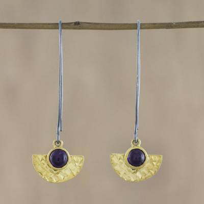 Gold plated amethyst dangle earrings, 'Lovely Half Moons' - 18k Gold Plated Amethyst Dangle Earrings from Thailand