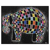 'Fantasy Elephant' - Signed Multicolored Cubist Painting of an Elephant