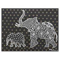 'Baby and Mom' - Signed Black and White Cubist Painting of Elephants