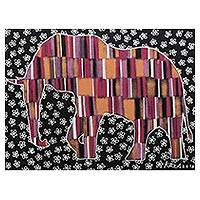 'Be Loved (Pink)' - Signed Multicolored Cubist Painting of an Elephant