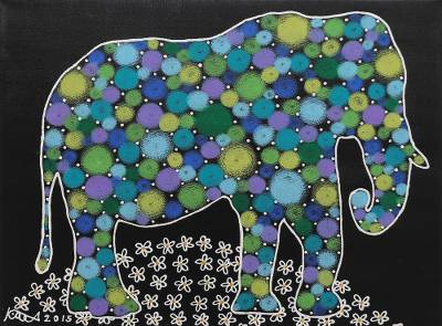 'Happy Elephant' - Signed Multicolored Cubist Painting of an Elephant