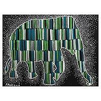 'Be Loved (Green)' - Signed Multicolored Cubist Painting of an Elephant