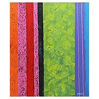 'Summer Breeze I' - Original Abstract Painting in Summer Colors from Thailand