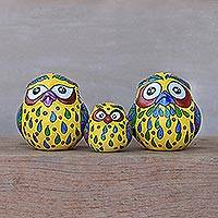 Ceramic home accents, 'Happy Owl Family in Yellow' (set of 3) - Three Hand-Painted Owl Home Accents in Yellow from Thailand