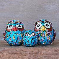 Ceramic home accents, 'Happy Owl Family in Blue' (set of 3) - Three Hand-Painted Owl Home Accents in Blue from Thailand