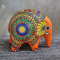 Ceramic figurine, 'Om Elephant' - Hand Painted Colorful Ceramic Elephant Figurine with Om Sign