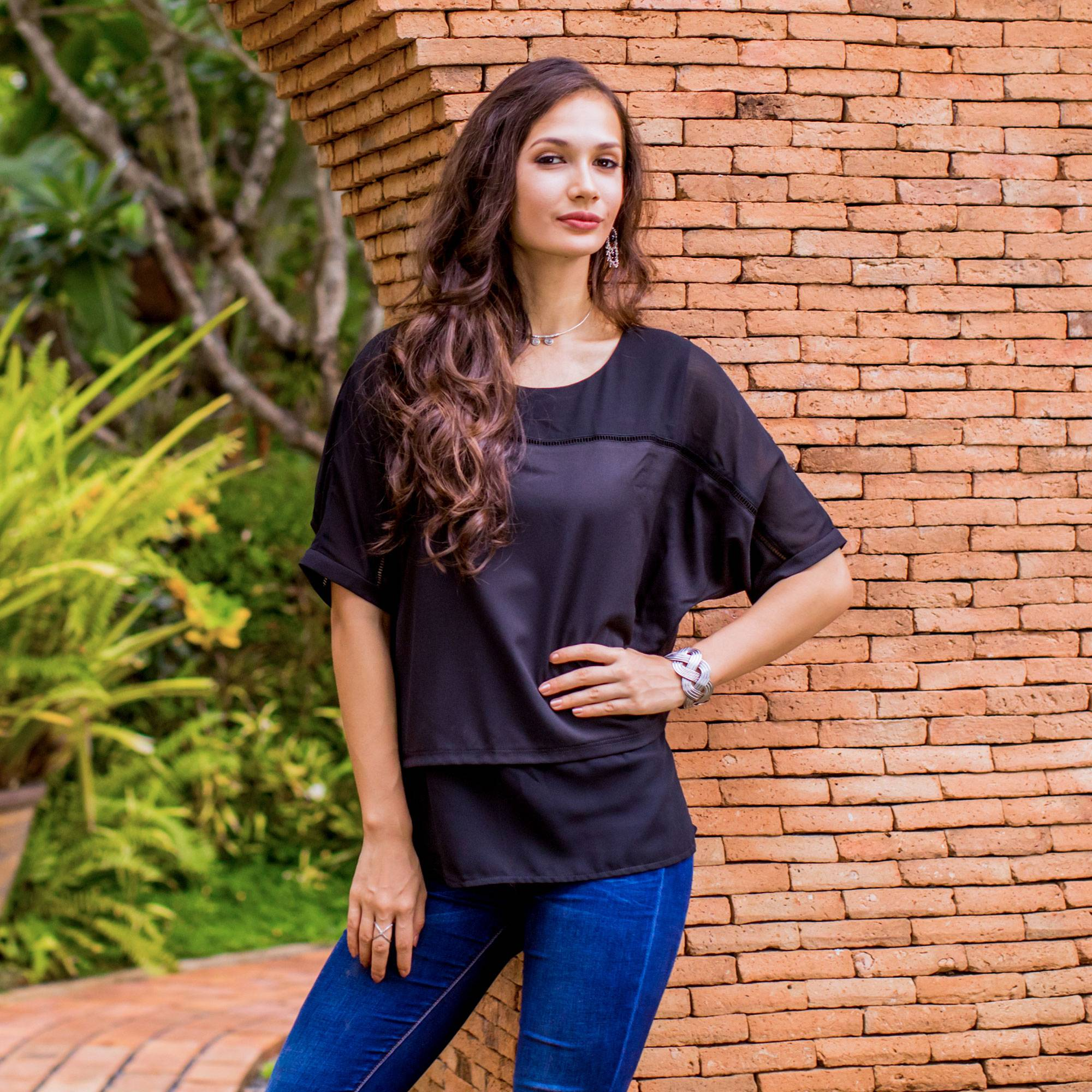 Semi Sheer Black Chiffon Blouse from Thailand, 'Beautiful Day in Black'