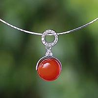 Carnelian pendant necklace, 'Moonlight Grace' - Carnelian Minimalist Pendant Necklace from Thailand