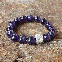 Amethyst beaded stretch bracelet, 'Nonconformist' - Beaded Amethyst and Karen Silver Bracelet from Thailand