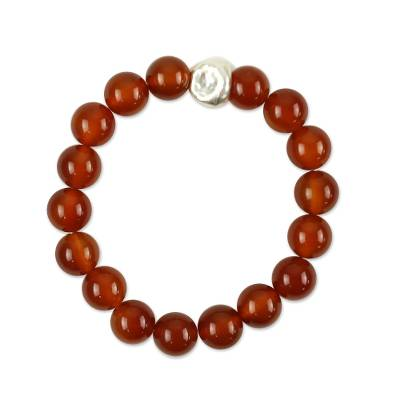 Handcrafted Red Orange Carnelian Chunky Beaded Stretch Bracelet
