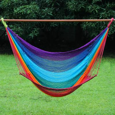 Cotton rope hammock swing, 'Time to Relax' (single) - Handmade Cotton Rope Single Hammock Swing