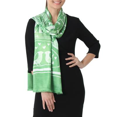 Batik Painted Bird Rayon Scarf in Lime from Thailand