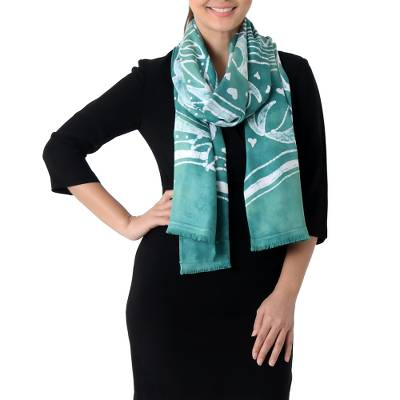 Batik rayon scarf, 'Bird Home in Emerald' - Batik Painted Bird Rayon Scarf in Emerald from Thailand