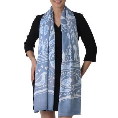 Batik Painted Rayon Scarf in Cadet Blue from Thailand