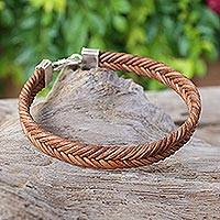 Leather braided bracelet, 'Going Steady' - Thai Hand Braided Brown Silver Accent Leather Bracelet