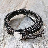 Onyx wrap bracelet, 'Karen Layers' - Onyx Karen Silver and Leather Wrap Bracelet from Thailand