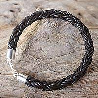 Men's leather bracelet, 'Sophisticated Braid' - Men's Thai Brown Leather Braided Bracelet with Silver Clasp