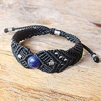 Silver and lapis lazuli braided bracelet, 'Blue Neptune in Black' - 950 Silver and Lapis Lazuli Bracelet in Black from Thailand
