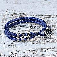 Silver wristband bracelet, 'Rosy Karen in Blue' - Karen Silver Rose Wristband Bracelet in Blue from Thailand