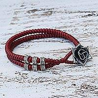Silver wristband bracelet, 'Rosy Karen in Red' - Karen Silver Rose Wristband Bracelet in Red from Thailand