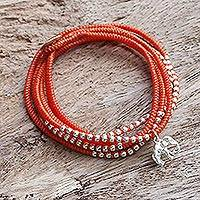Silver wrap bracelet, 'Amazing Elephant in Orange' - Karen Silver Elephant Wrap Bracelet in Orange from Thailand