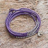 Silver wrap bracelet, 'Amazing Elephant in Purple' - Karen Silver Elephant Wrap Bracelet in Purple from Thailand