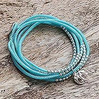 Silver wrap bracelet, 'Amazing Elephant in Sky Blue' - Sky Blue Silver Elephant Wrap Bracelet from Thailand