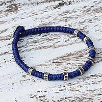 Silver accented wristband bracelet, 'Good Living in Blue' - Wristband Bracelet with Karen Silver in Blue from Thailand