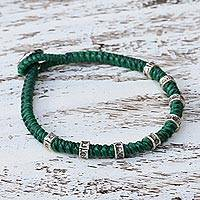 Silver accented wristband bracelet, 'Good Living in Green' - Wristband Bracelet with Karen Silver in Green from Thailand