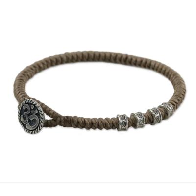 Karen Silver Om Wristband Bracelet in Khaki from Thailand