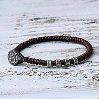 Silver accented wristband bracelet, 'Living Om in Brown' - Karen Silver Om Wristband Bracelet in Brown from Thailand