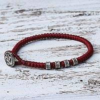 Silver accented wristband bracelet, 'Living Om in Red' - Karen Silver Om Wristband Bracelet in Red from Thailand
