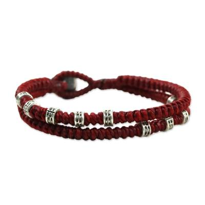 Double Strand Wristband Bracelet with Karen Silver in Red