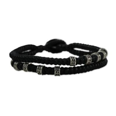 Double Strand Wristband Bracelet with Karen Silver in Black