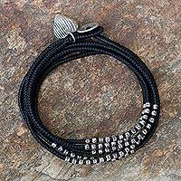 Silver accented wrap bracelet, 'Black Hill Tribe Sweetheart' - Black Cord Wrap Bracelet with Hill Tribe Silver (21-Inch )