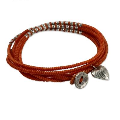 Hill Tribe Silver and Orange Cord Wrap Bracelet (21 Inches)
