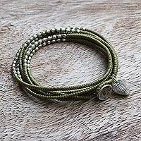 Silver accented wrap bracelet, 'Green Hill Tribe Sweetheart' - 21 Inch Thai Hill Tribe Silver and Green Cord Wrap Bracelet